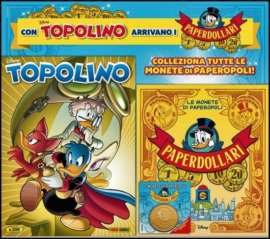 TOPOLINO LIBRETTO #  3399 - OPERAZIONE PAPERDOLLARI 2021 + RACCOGLITORE MONETE DI PAPEROPOLI + MONETA ROCKERDUCK
